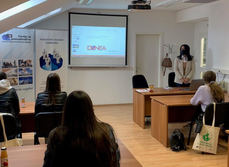 DUNEA prezentirala EUROPE DIRECT DNŽ u sklopu predstavljanja Mreže poduzetničkih inkubatora učenicima Srednje škole Vela Luka